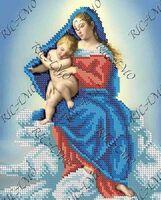 Мадонна с младенцем БКР 4226 схема с рисунком для частичной вышивки бисером №10 на габардине