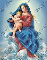 Мадонна с младенцем - Схема с рисунком для частичной вышивки бисером на ткани БКР-5193