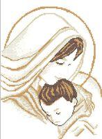 Схема вышивки бисером на габардине А3-053 Мадонна с младенцем