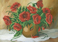 Маки в вазе ,А3-28 схема с рисунком для частичного вышивания бисером на габардине