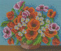 Маки в вазе, БК-4100 схема-рисунок полноцвет на габардине для вышивания бисером
