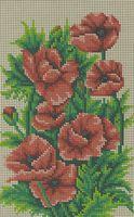 Маки, БК-4242 схема-рисунок полноцвет на габардине для вышивания бисером