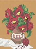 Маки в вазе А3-0102 схема с рисунком на габардине для полной вышивки бисером