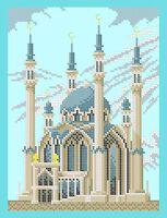 Мечеть схема для вышивки бисером на ткани А4-0274