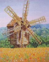 Мельница, DANA-28 схема-рисунок полноцветная на габардине для вышивания бисером(нитками)