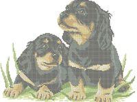 Милые щенки схема для вышивки бисером на ткани А3-0501