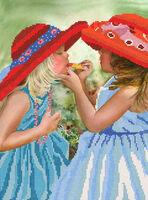 Модницы, РКП-101 схема-рисунок полноцветная на атласе для частичного вышивания бисером