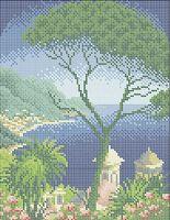 Морской пейзаж схема для вышивки бисером на ткани А4-0401