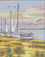 Морской заход солнца схема для вышивки бисером на ткани А3+ -014