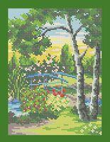 Мостик в саду схема вышивки бисером А4-0184
