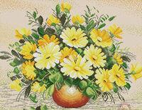 Натюрморт с жёлтыми цветами, ЗК-054 схема-рисунок на габардине для вышивки бисером(нитками DMC)