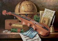 Натюрморт со скрипкой К-209 схема с рисунком на габардине для частичного вышивания бисером