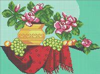 Натюрморт с фруктами и цветами А3-0148 схема с рисунком на габардине для полной вышивки бисером