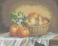 Натюрморт с фруктами схема для вышивки бисером на ткани А3-0220