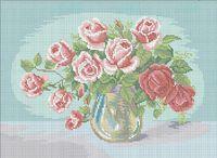Натюрморт с розами А3-0427 схема с рисунком на габардине для полного вышивания бисером