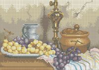 Натюрморт с виноградом А3-0219 схема для вышивки бисером