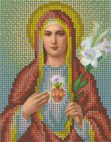 Непорочное сердце Марии БКР-5183 схема с рисунком для вышивания бисером на габардине