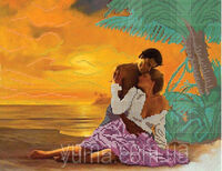 Неземная любовь, ЮМА-387 схема-рисунок полноцветная на атласе для частичного вышивания бисером