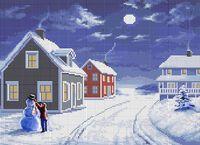 Ночная улица схема для вышивки бисером на ткани А3-0215