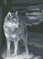 Ночной волк К-009 схема с рисунком на габардине для полной вышивки бисером