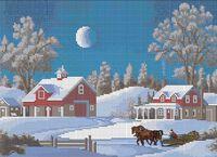 Ночной зимний пейзаж схема для вышивки бисером на ткани А3-0213