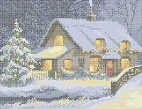 Новогодняя ночь А4-0337 схема с рисунком на габардине для полной вышивки бисером