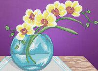 Орхидея в вазе схема для вышивки бисером на ткани А3-0476