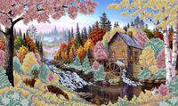Осень, ЮМА-312 схема-рисунок полноцветная на атласе для частичного вышивания бисером