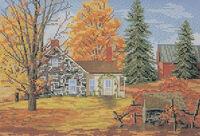 Осенний день, К-088 схема-рисунок для вышивания бисером №10 на ткани