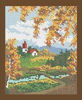 Осенний пейзаж схема для вышивки бисером А4-0191