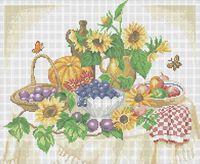 Осенний натюрморт А3-020 схема с рисунком на габардине для полной вышивки бисером