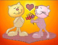 Пара котов А4-0435, схема с рисунком для вышивания бисером