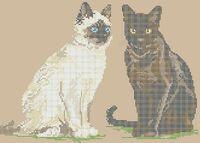 Пара котов схема для вышивки бисером на ткани А3-0500