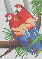 Пара попугаев А3-0113 схема с рисунком на габардине для полной вышивки бисером