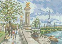 Париж А3-0247 схема с рисунком на габардине для полной вышивки бисером формат А3