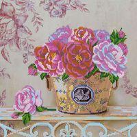 Парижские цветы АС-285 схема с рисунком на габардине для частичной вышивки бисером