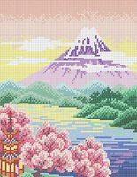 Пейзаж природы схема для вышивки бисером на ткани А4-0235
