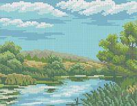 Пейзаж схема для вышивки бисером на ткани А4-0161