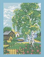 Пейзаж схема для вышивки бисером на ткани А4-0181