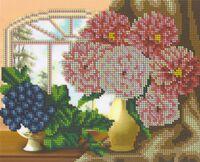 Пионы в вазе с фруктами, БК-4179 схема-рисунок для частичной вышивки бисером на ткани