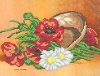 Полевые цветы схема для вышивки бисером на ткани А4-0155