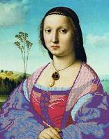 Портрет Маддалены Дони( Рафаэль Санти), ЮМА-382 схема-рисунок полноцветная на атласе для частичного вышивания бисером