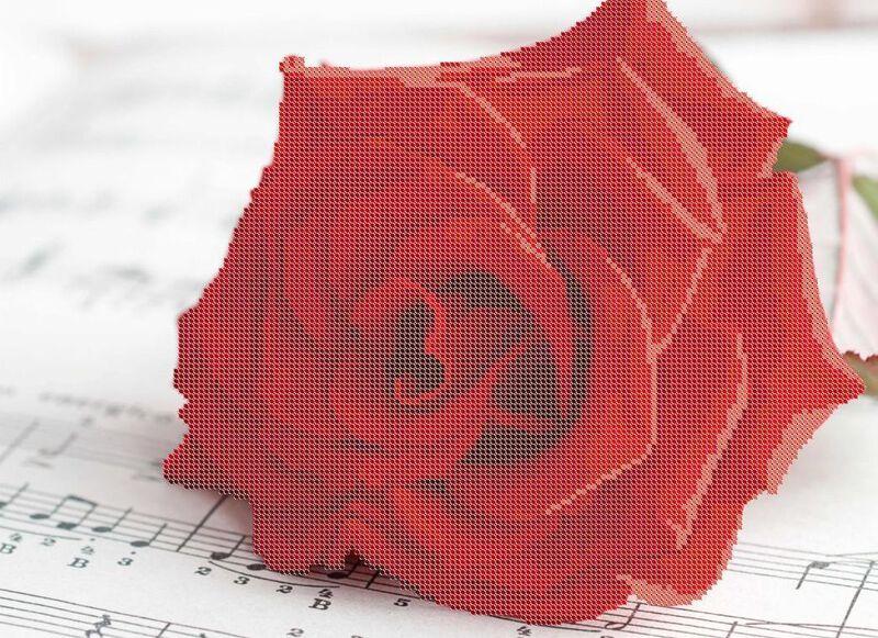 b0575d81fe7e0b Схема частичной вышивки бисером Роза. В дизайн схемы входят 9 цвета  чешского бисера Preciosa, размер №10. Схема для вышивки чешским бисером  разработана ...