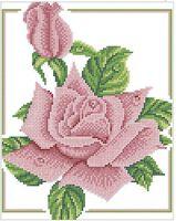 Роза схема для вышивки бисером на ткани А4-0234