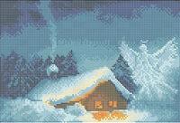 Рождественская ночь схема для вышивки бисером на ткани А4-096