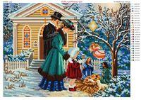 Рождество в семейном кругу ЮМА-3325 схема с рисунком на ткани для частичного вышивания бисером