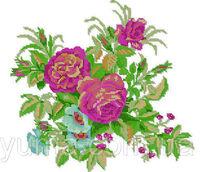 Розы, ЮМА-318 схема-рисунок для частичной вышивки бисером на атласе формат А-3