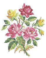 Розы схема для вышивки бисером на ткани А4-0224