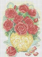 Розы в вазе А3-0200 схема с рисунком на габардине для полной вышивки бисером
