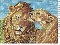 Львиная идиллия SA 3-58 схема для вышивания бисером на ткани